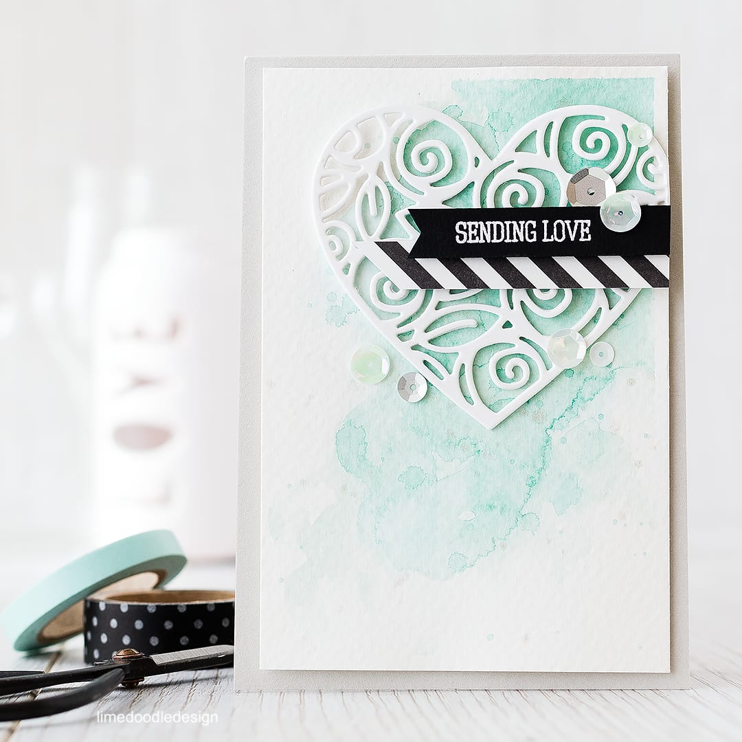 Making the sentiment pop with black card on a softly elegant card. Find out more by clicking on the following link: http://limedoodledesign.com/2015/12/making-the-sentiment-pop/