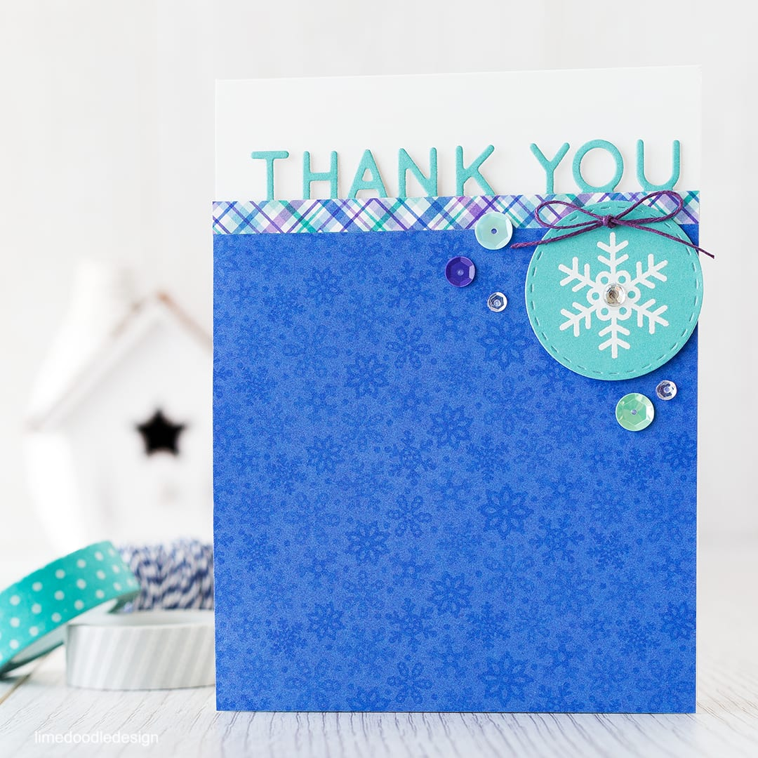 It's always good to have Holiday thank you cards around at this time of year. Find out more by clicking the following link: http://limedoodledesign.com/2015/12/holiday-thanks/ card thank you snowflake winter