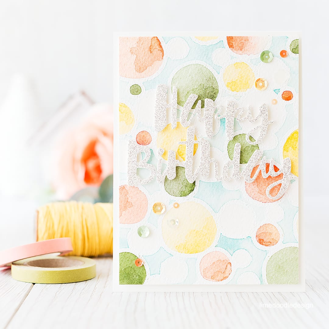 A bright and happy watercolored background makes a great backdrop for this birthday card. Find out more by clicking on the following link: http://limedoodledesign.com/2015/12/watercolored-background/