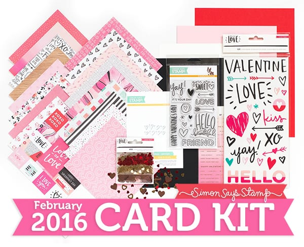 February Card Kit from Simon Says Stamp. Find out more by clicking the following link: http://limedoodledesign.com/2016/01/february-card-kit-cha/