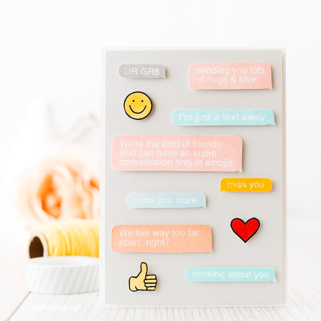 A fun text talk card to let someone know you miss them. Find out more by clicking the following link: http://limedoodledesign.com/2016/01/text-talk-lasting-hearts/
