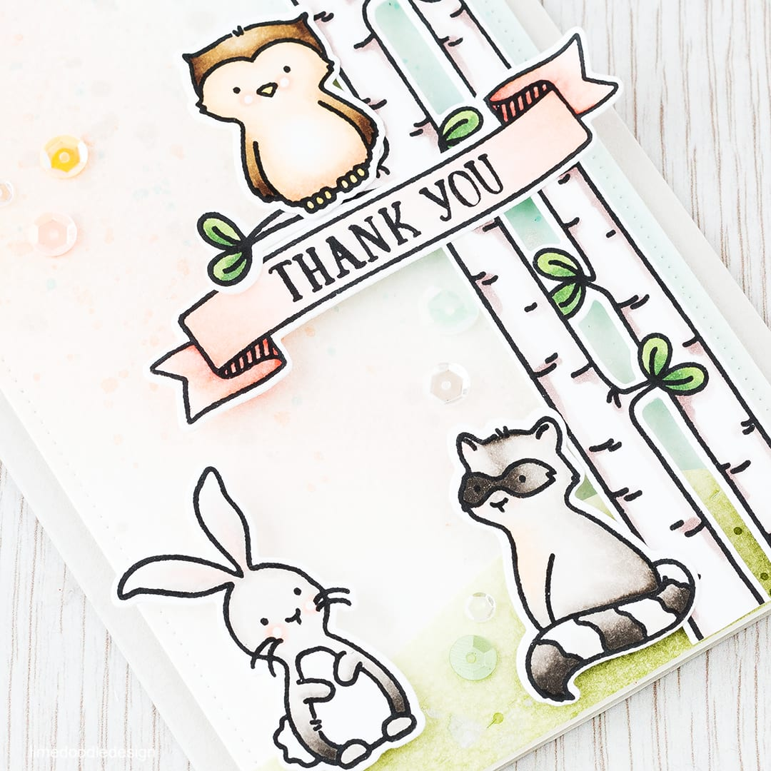 Woodland Scene. Find out more by clicking the following link: http://limedoodledesign.com/2016/02/woodland-scene/ thank you thanks greeting card cute critters rabbit owl racoon