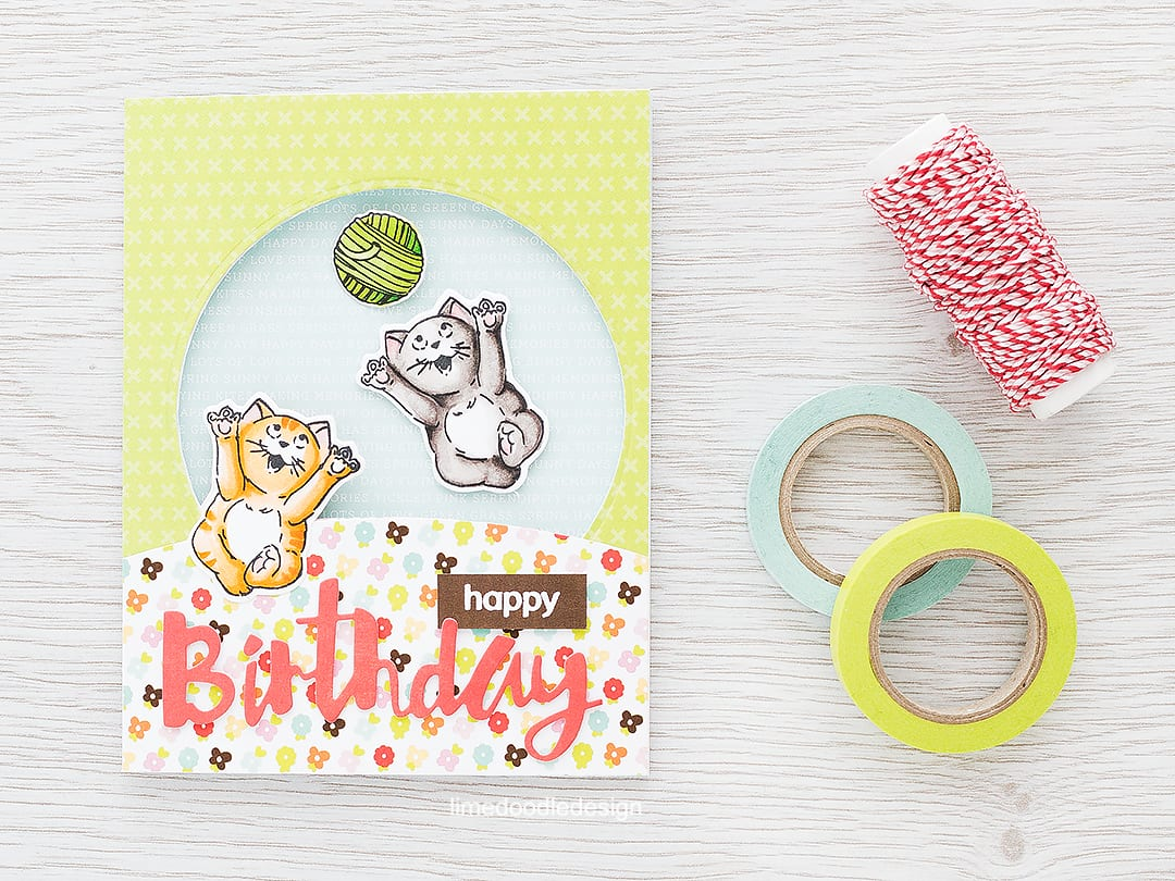 Fun cat spinner card. Find out more by clicking the following link: http://limedoodledesign.com/2016/02/cat-spinner-card/ birthday