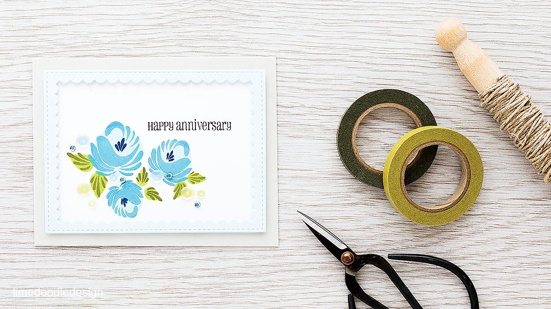 Looking at the placing these gorgeous flowers with the rule of thirds. Find out more by clicking on the following link: http://limedoodledesign.com/2016/02/framed-florals-rule-of-thirds/ anniversary card