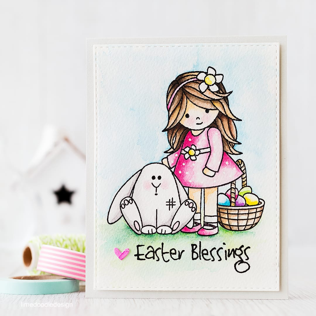 Watercolored Easter scene. Find out more by clicking the following link: http://limedoodledesign.com/2016/02/easter-scene/ card rabbit easter egg girl flower