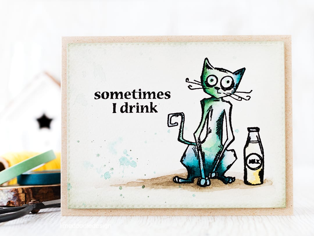 The Crazy Cats from Tim Holtz are so much fun! Find out more by clicking the following link: http://limedoodledesign.com/2016/02/crazy-cats/ cat greeting card fun drink alcohol
