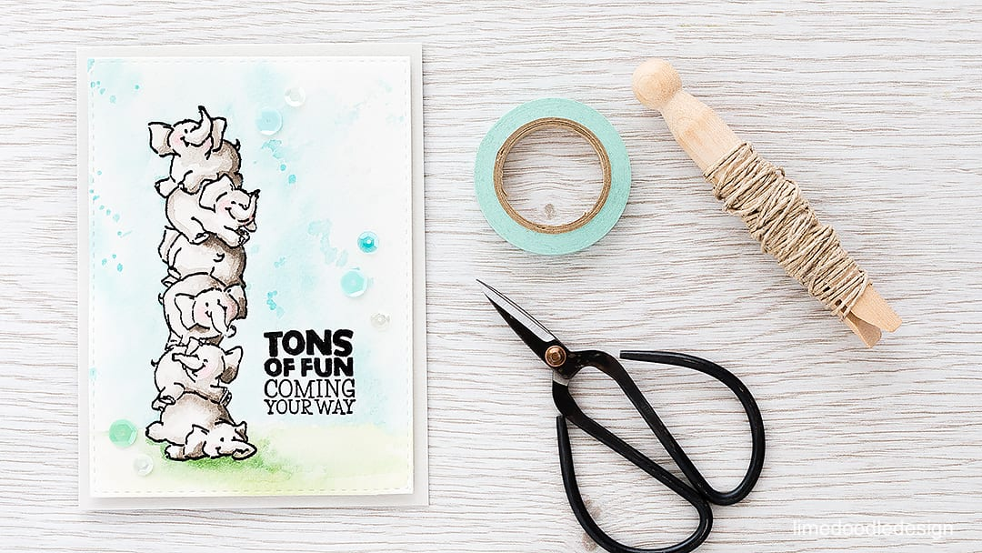 Quick and easy watercolor card with these cute Art Impressions elephants! Find out more by clicking on the following link: http://limedoodledesign.com/2016/03/quick-easy-watercolor-card/