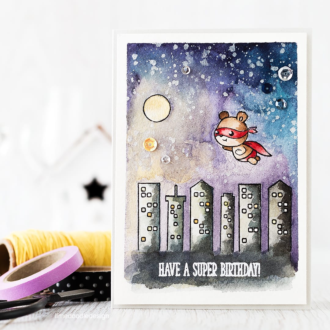 Watercolored night sky with a caped super Ted! Find out more by clicking the following link: http://limedoodledesign.com/2016/03/watercolored-night-sky/