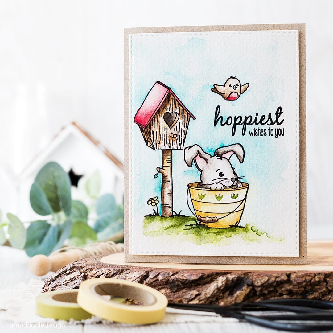 Watercolored scene - using an Easter set to create a card that could equally be used for other occasions too. Find out more by clicking on the following link: http://limedoodledesign.com/2016/03/watercolored-scene/