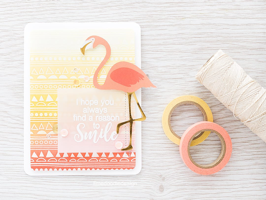 Ink blended background to go with this fun flamingo! Find out more by clicking on the following link: http://limedoodledesign.com/2016/03/ink-blended-background-2/ card bird smile