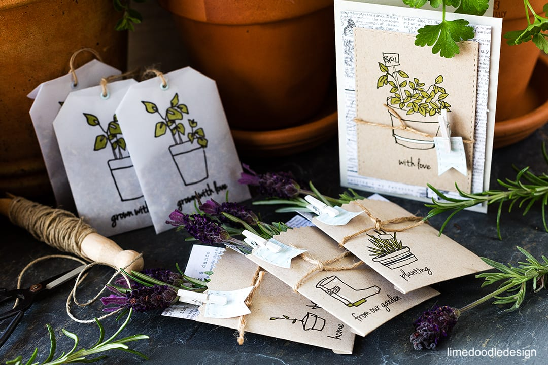 Herb garden set with card, seed packets and lavender tea bag pockets. Find out more by clicking the following link: http://limedoodledesign.com/2016/04/altenew-2nd-anniversary-blog-hop/ packaging