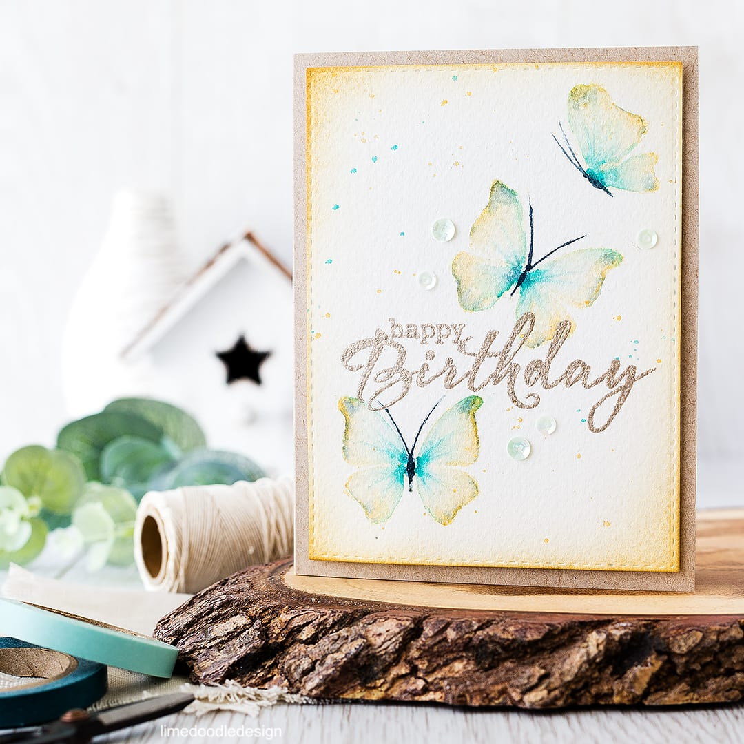 Watercolored butterflies birthday card. Find out more by clicking on the following link: http://limedoodledesign.com/2016/04/watercolored-butterflies/