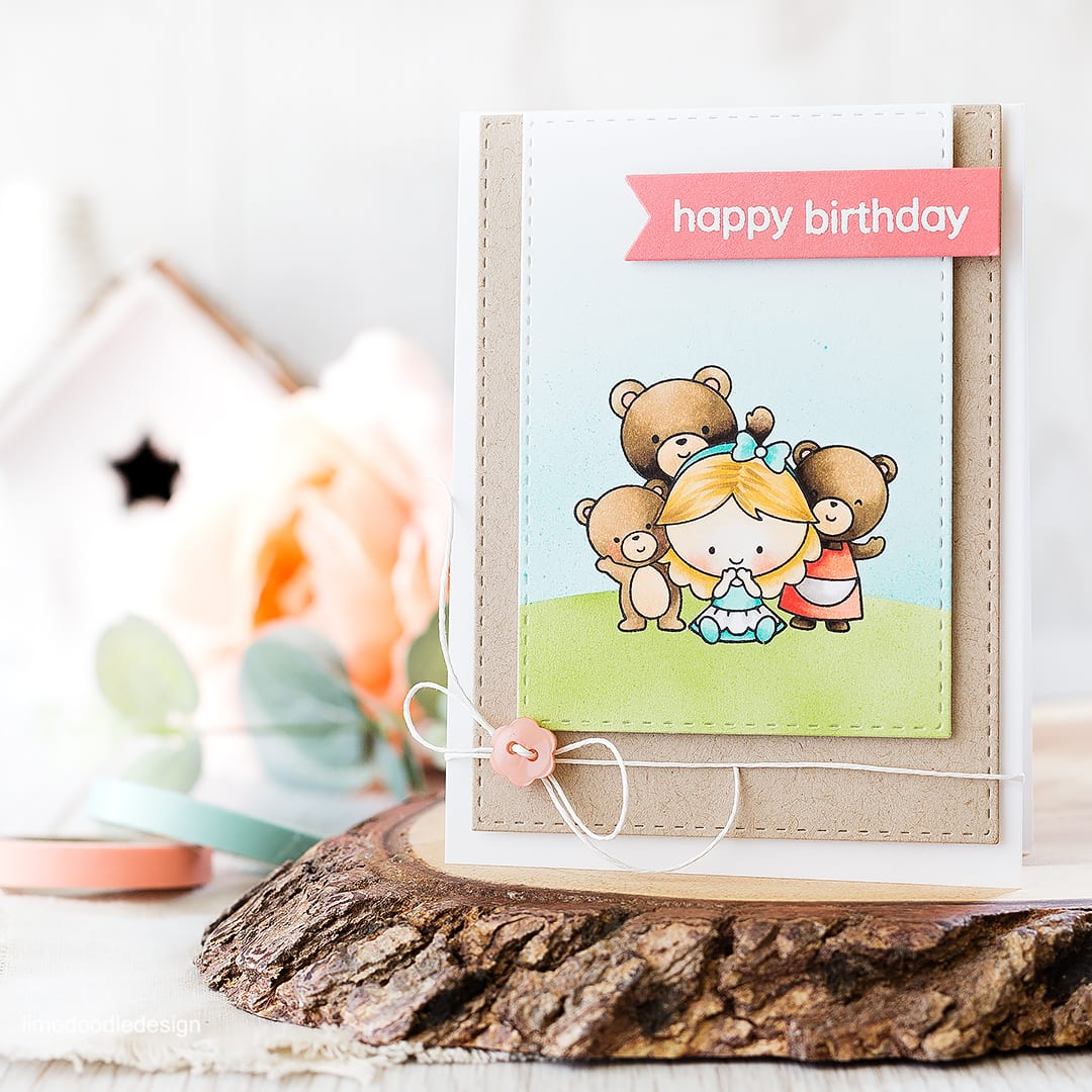 Goldilocks and the three bears birthday card with off set panels. Find out more by clicking on the following link: http://limedoodledesign.com/2016/04/off-set-panels/