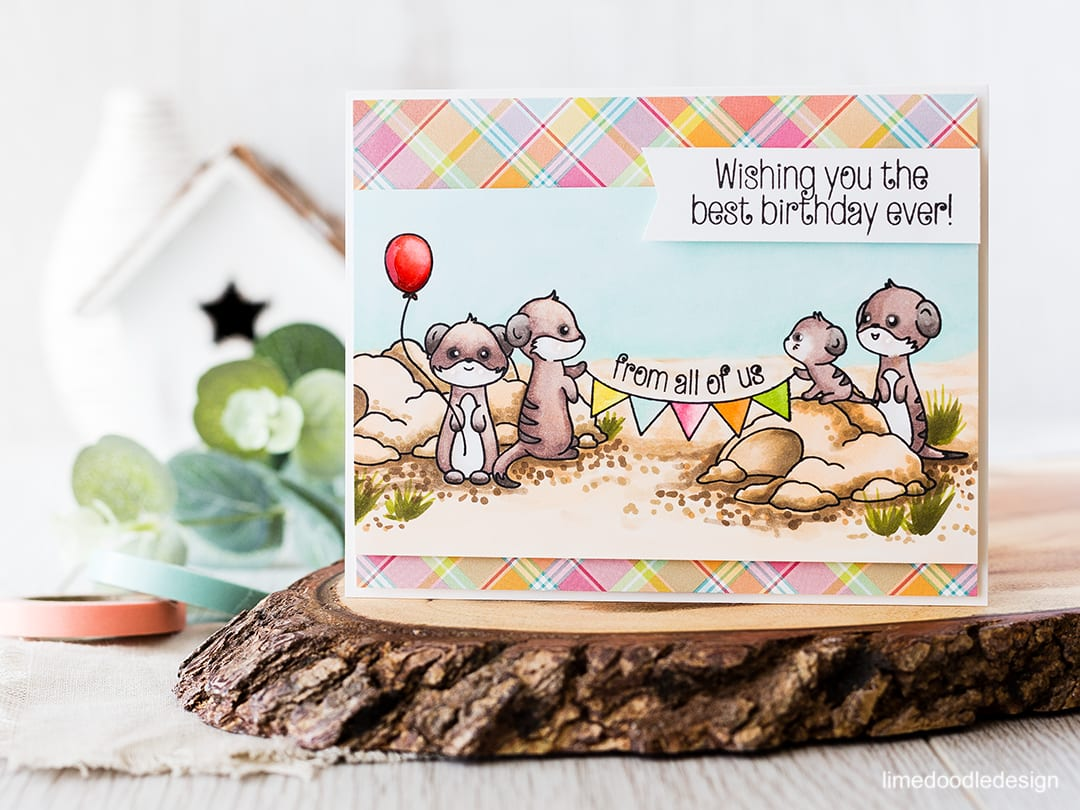 Masking a scene for a meerkat birthday card! Find out more by clicking on the following link: http://limedoodledesign.com/2016/04/masking-a-scene-2/