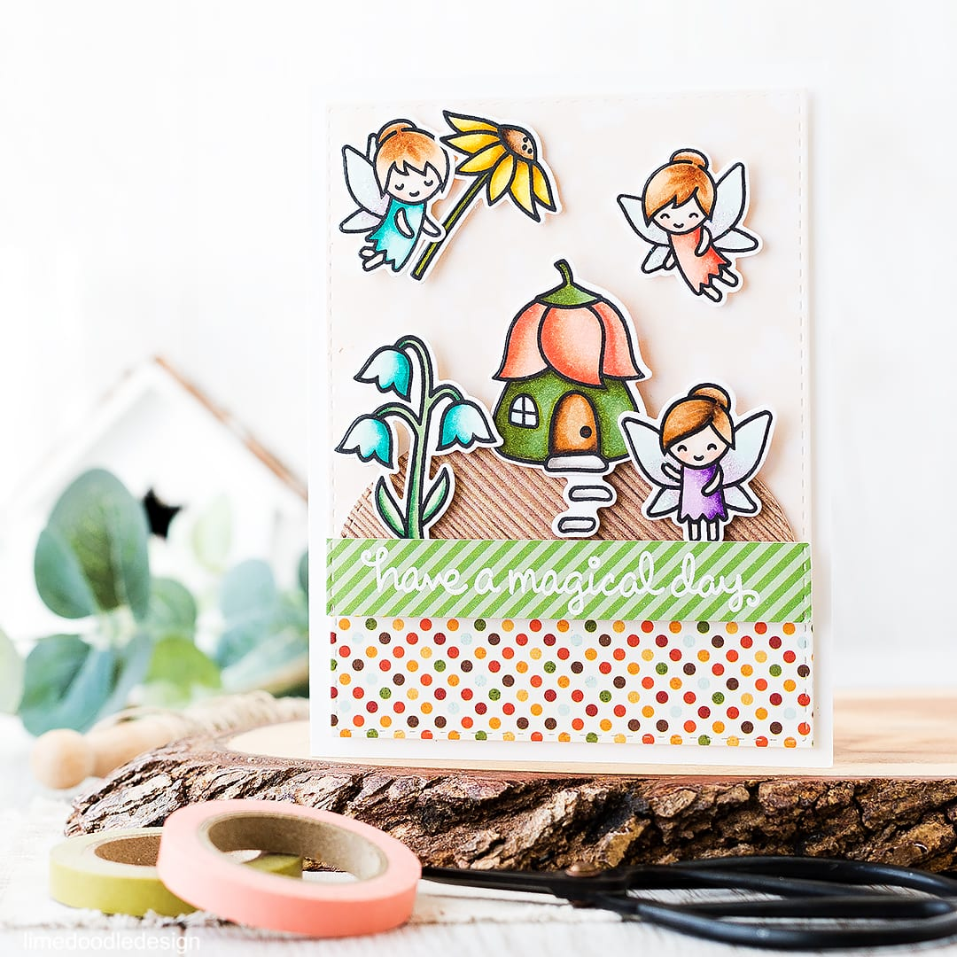A cute fairy garden birthday card. Find out more by clicking on the following link: http://limedoodledesign.com/2016/04/fairy-garden/