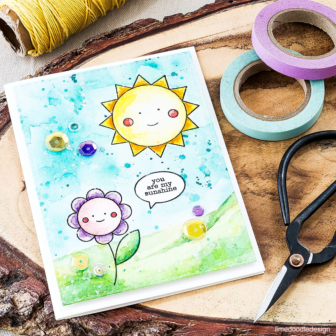 Watercolored card packed with sunshine and happiness using the May Card Kit from Simon Says Stamp. Find out more by clicking on the following link: http://limedoodledesign.com/2016/04/may-card-kit/