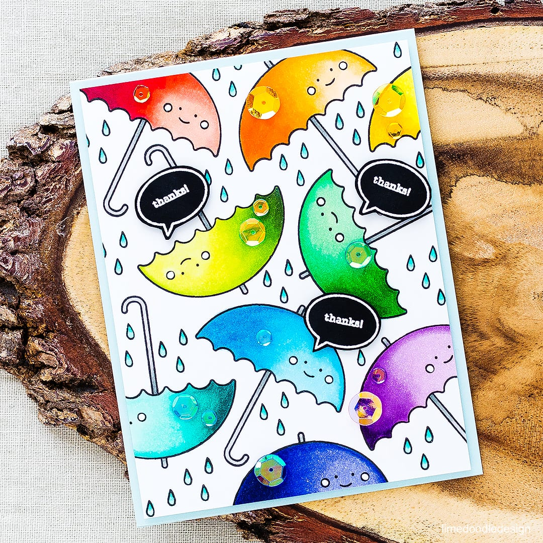 A bushel of rainbow colored brollies for this fun thank you card. Find out more by clicking on the following link: http://limedoodledesign.com/2016/04/rainbow-umbrellas/