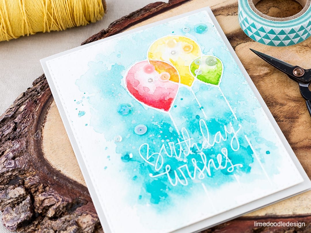 Birthday card with simple watercolored layers. For a video tutorial and more information please visit: http://limedoodledesign.com/2016/04/video-simple-watercolored-layers/ birthday card balloon