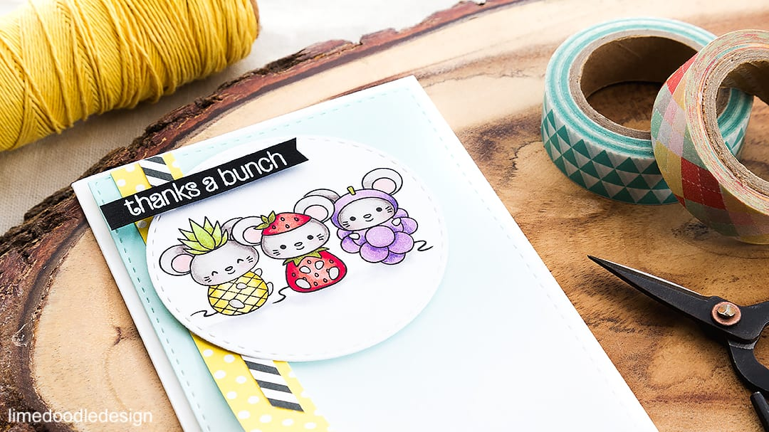 Cute fruit! Adorable mice dressed as fruit make for a fun card! Find out more by clicking on the following link: http://limedoodledesign.com/2016/05/cute-fruit/