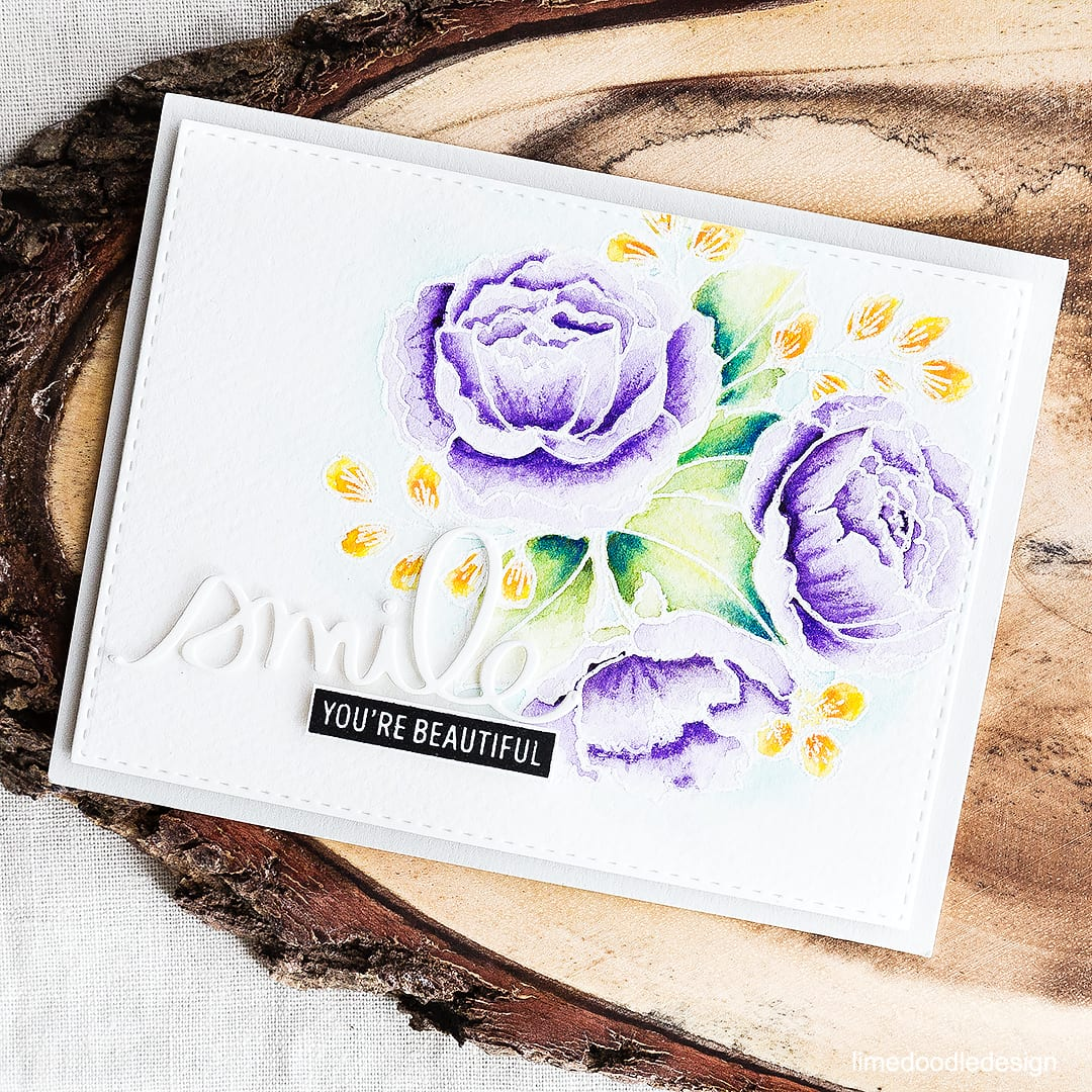 White heat embossed and watercolored off set florals card. Find out more by clicking on the following link: http://limedoodledesign.com/2016/05/off-set-florals/