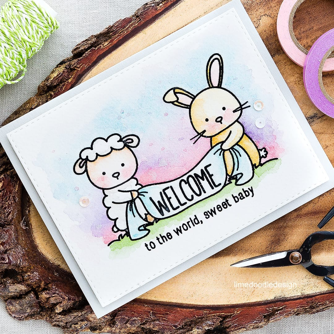 Cuteness overload with this sweet image to welcome a new baby. Find out more by clicking on the following link: http://limedoodledesign.com/2016/05/welcome-baby-3/ baby card rabbit sheep