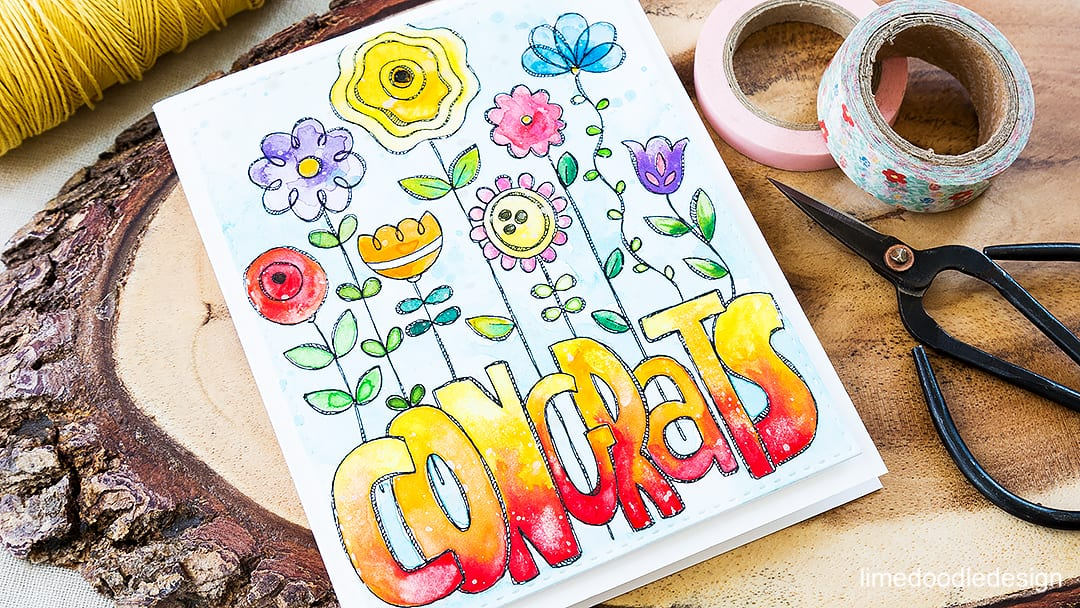 Colorful congrats watercolored card. Find out more by clicking on the following link: http://limedoodledesign.com/2016/05/colorful-congrats/