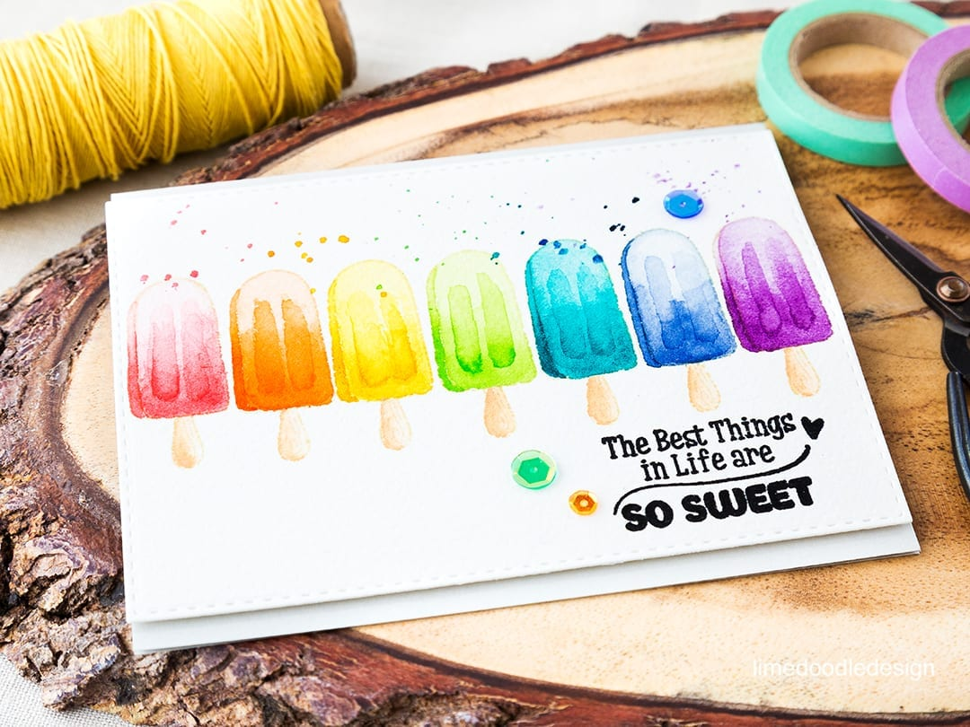 Rainbow watercolored lollies for the Rainbow Card Challenge. Find out more by clicking on the following link: http://limedoodledesign.com/watercolored-lollies-for-the-rainbow-card-challenge/
