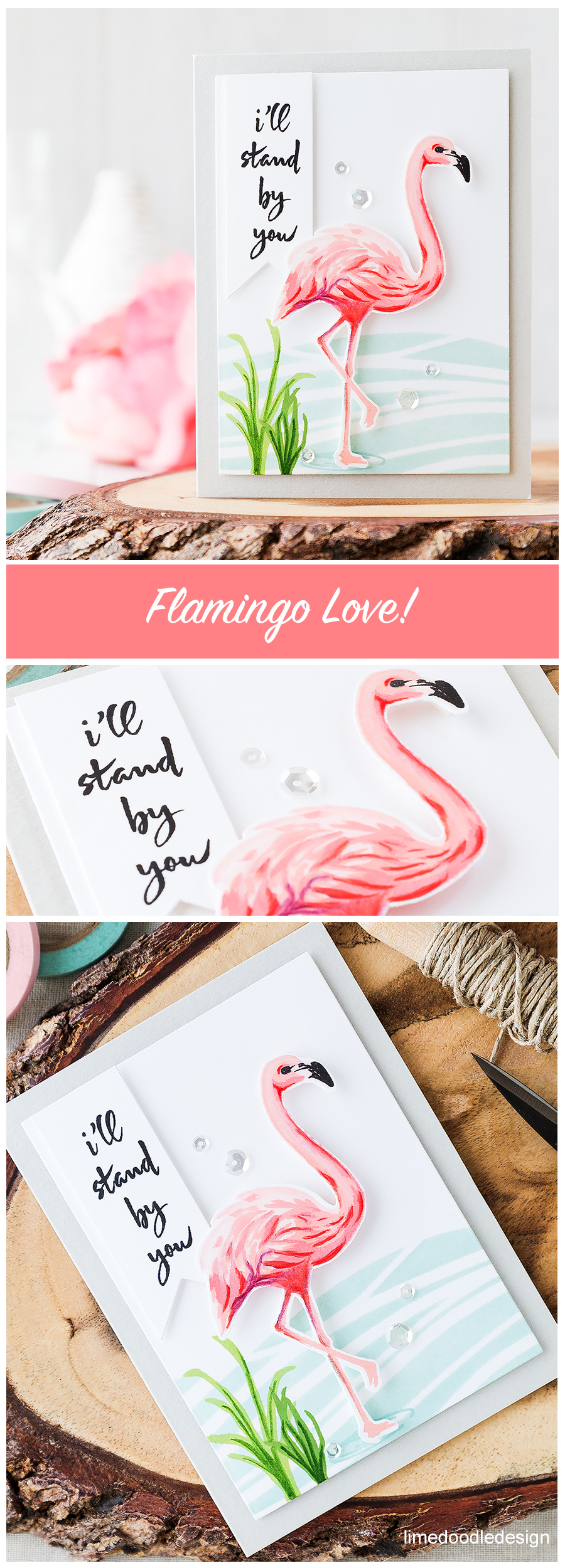 Who doesn't love flamingos?! The Hero Arts flamingo makes a stunning focal point for this card. Find out more by clicking on the following link: http://limedoodledesign.com/2016/06/who-doesnt-love-flamingos/