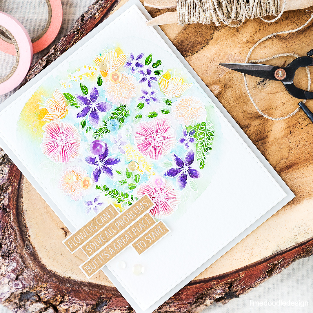 Flowers can't solve all problems but it'a a great place to start - innovative sentiment from Concord & 9th paired with one of their beautiful florals. Find out more by clicking on the following linK: http://limedoodledesign.com/2016/06/watercoloring-and-flowers-cant-solve-all-problems/