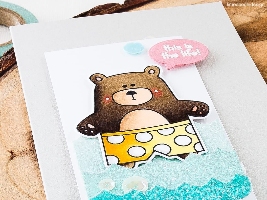 What color is your swim suit? I was humming away '... itsy bitsy teenie weenie yellow polka dot...' as I was making this fun, summery card! Find out more by clicking on the following link: http://limedoodledesign.com/2016/06/what-color-is-your-swim-suit/