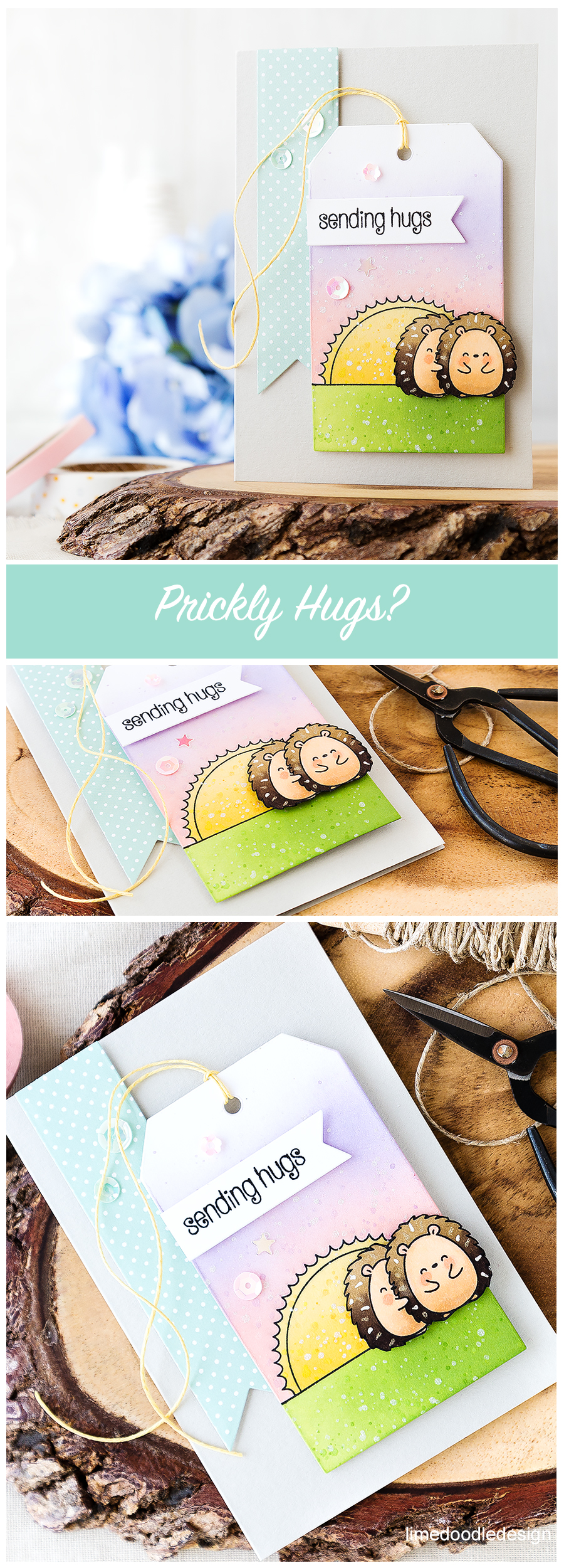 Do hedgehogs give prickly hugs? Sending hugs card - these cute Copic colored critters adorn a tag packed with ink blending and soft colors. Find out more by clicking on the following link: http://limedoodledesign.com/2016/07/hedgehogs-give-prickly-hugs-wonder/