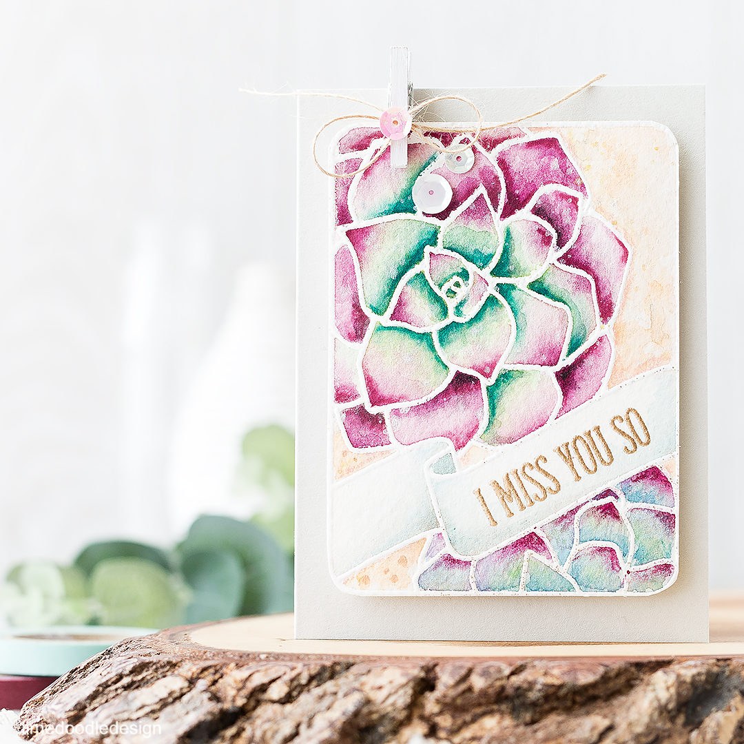 Watercolored Succulents Journalling Card