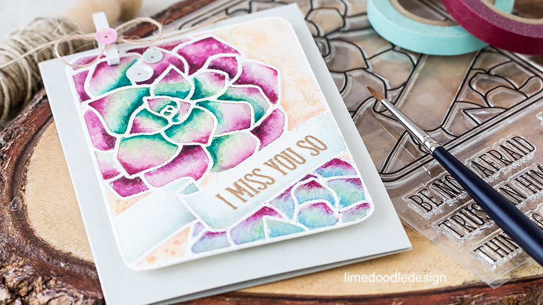 Watercolored Succulent Journaling Card. Find out more by clicking on the following link: http://limedoodledesign.com/2016/07/watercolored-succulents-journalling-card/