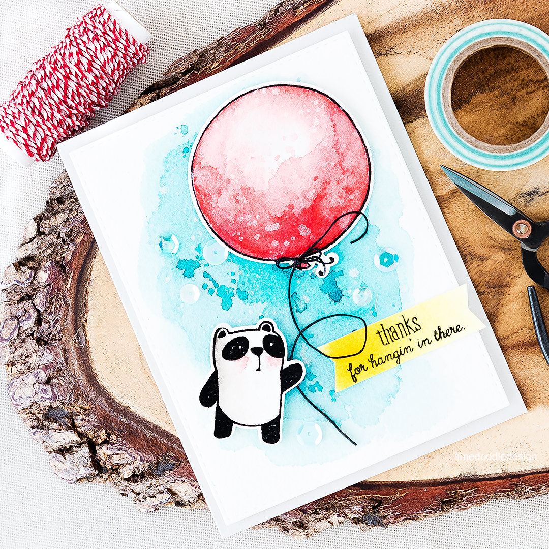 Thanks for hangin' in there - cute panda holding on to a big red watercolored balloon. Find out more by clicking on the following link: http://limedoodledesign.com/2016/07/thanks-for-hangin-in-there/