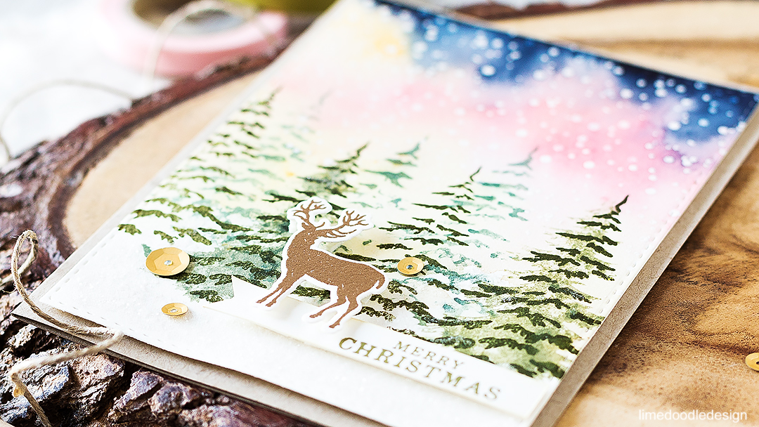 Lone stag in a snowy forest at sunrise. Find out more about this card by clicking on the following link: http://limedoodledesign.com/2016/08/lone-stag-in-a-winter-forest-at-sunrise/