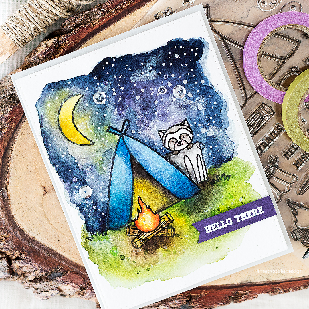 Camping under moonlight with a critter to keep you company! Find out more about this watercolor card by clicking on the following link: http://limedoodledesign.com/2016/08/pretty-pink-posh-august-new-release/