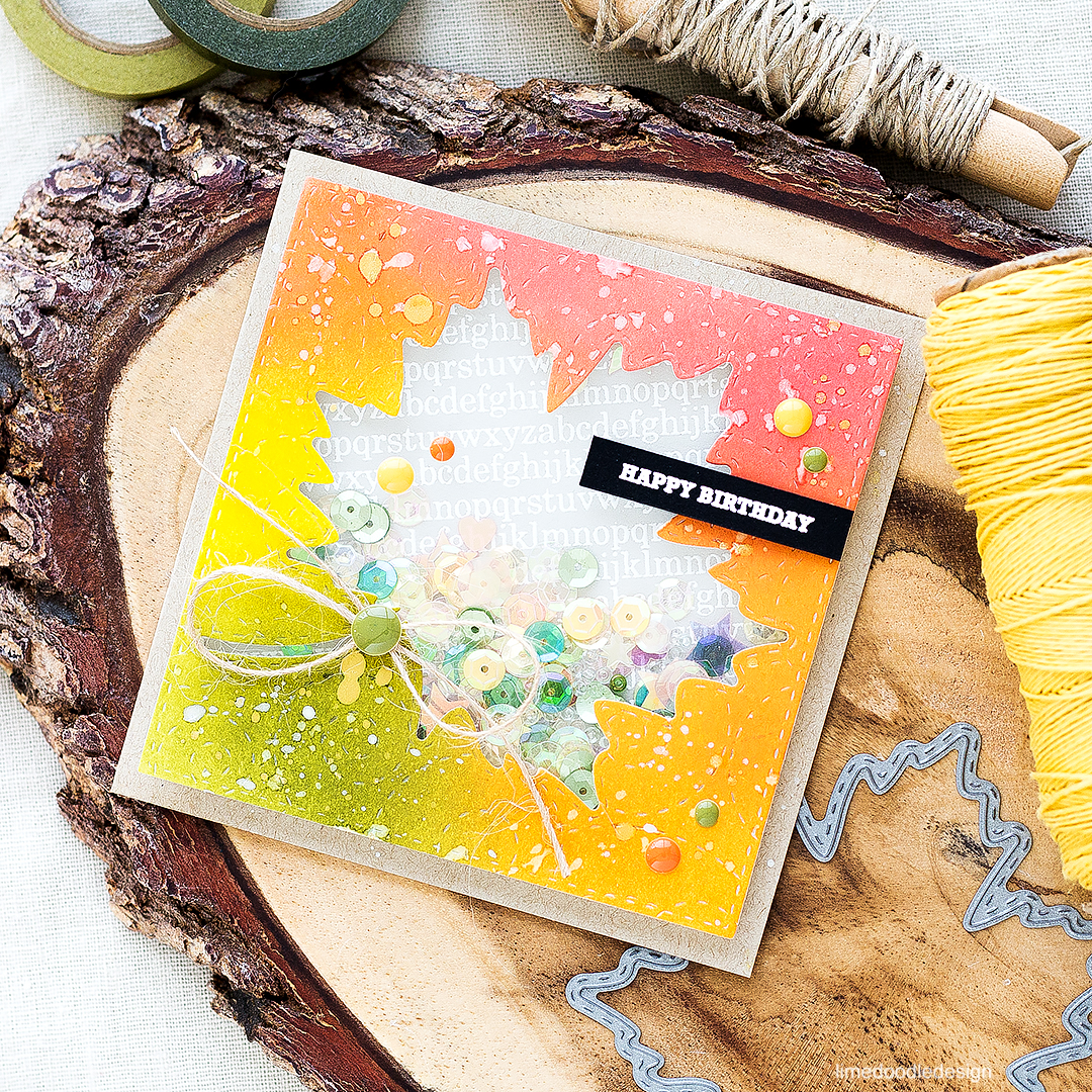 Maple Leaf Autumn Shaker Card. Find out more by clicking the following link: http://limedoodledesign.com/2016/08/maple-leaf-autumn-shaker-card/