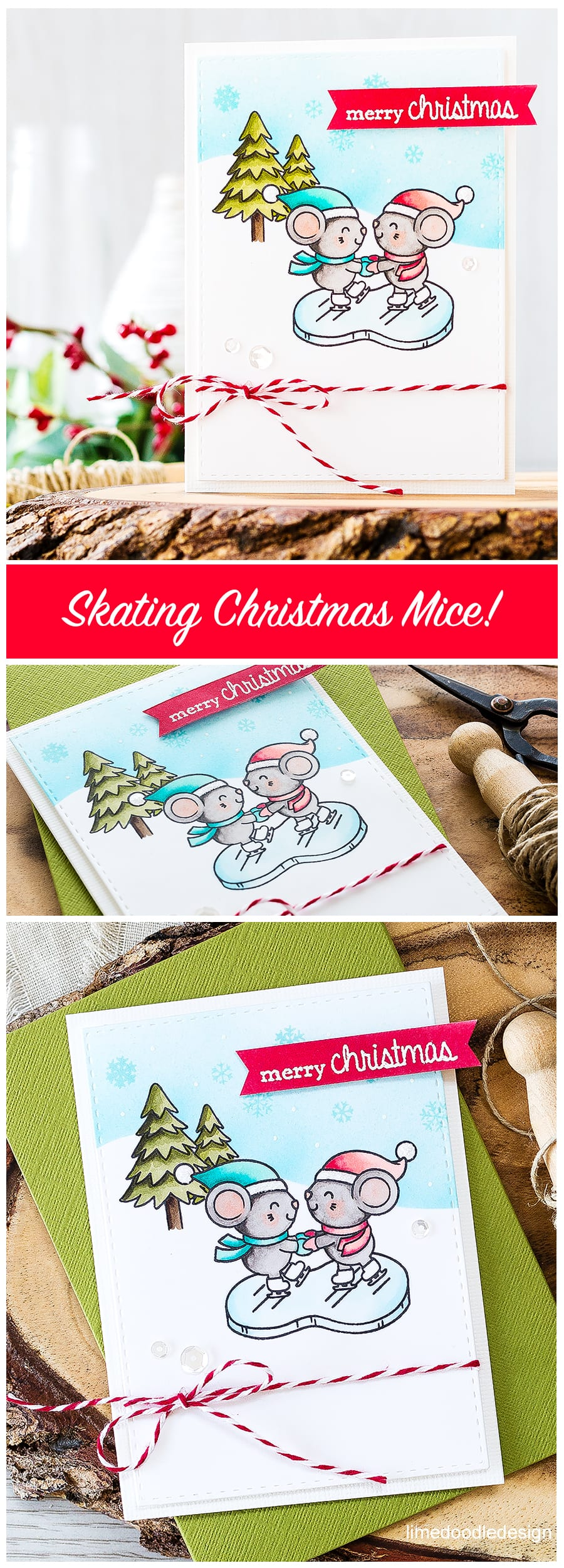 Ice Skating Mice! Find out more about this card by clicking on the following link: http://limedoodledesign.com/2016/09/ice-skating-mice/