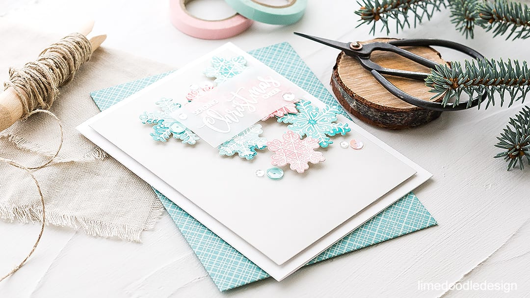 Soft subtle snowflakes. Find out more about this watercolored Christmas card by clicking on the following link: http://limedoodledesign.com/2016/09/soft-subtle-snowflakes-avery-elle-stamptember/