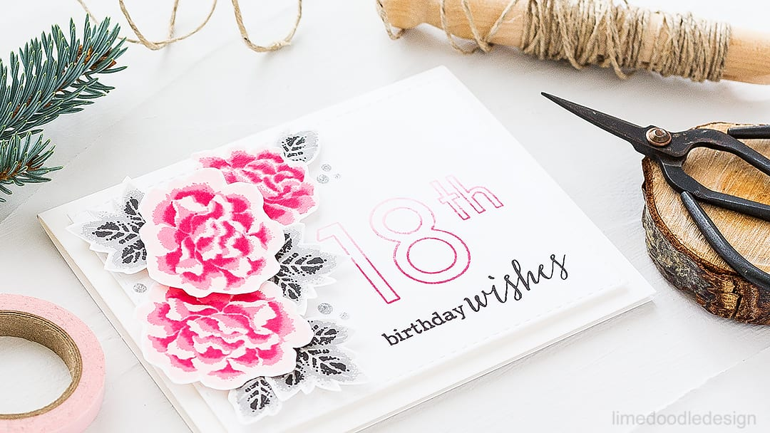 Layered chrysanthemums birthday card. Find out more about this card by clicking on the following link: http://limedoodledesign.com/2016/09/layered-chrysanthemums-clearly-besotted-stamptember/
