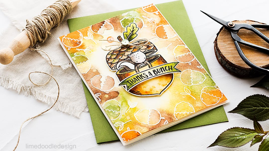 Autumn thanks a bunch cute squirrel from the Neat & Tangled STAMPtember exclusive set. Find out more about this card by clicking on the following link: http://limedoodledesign.com/2016/09/thanks-a-bunch-neat-tangled-stamptember-exclusive/