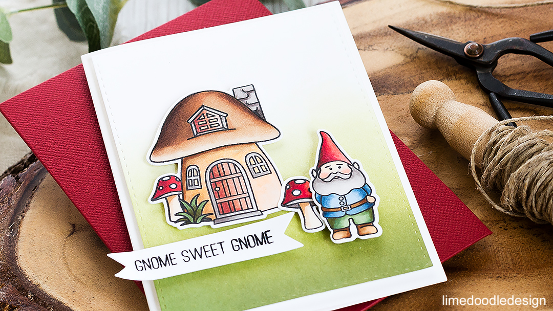 Gnome Sweet Gnome. Find out more about this card by clicking on the following link: http://limedoodledesign.com/2016/09/stamptember-fun-blog-hop-giveaway/