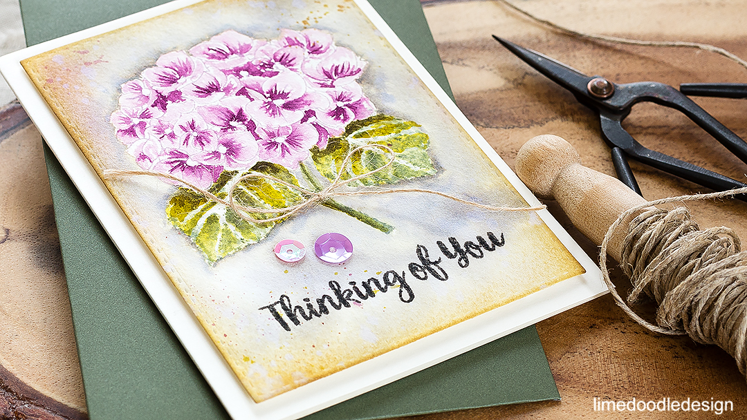 Watercolored hydrangea thinking of you card. Find out more by clicking on the following link: http://limedoodledesign.com/2016/09/watercolored-hydrangea/