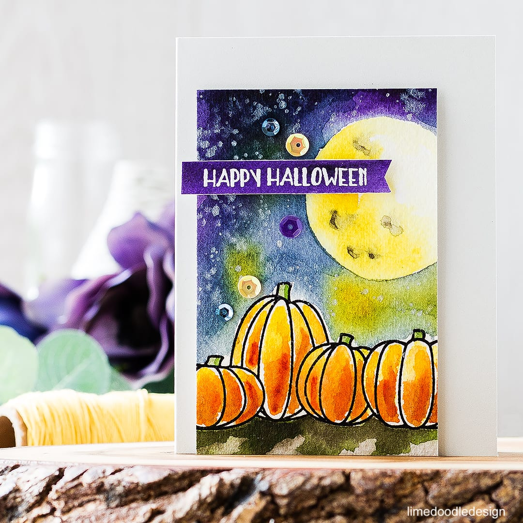 Video of watercoloring these moonlit pumpkins. Find out more about this halloween card by clicking on the following link: http://limedoodledesign.com/2016/09/video-moonlit-pumpkins/