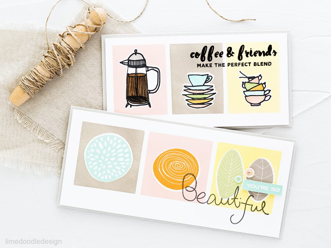 Video tutorial showing how to create retro stamping look. Find out more about these flower and coffee cards by clicking on the following link: http://limedoodledesign.com/2016/10/video-retro-stamping-flowers-and-coffee-giveaway/