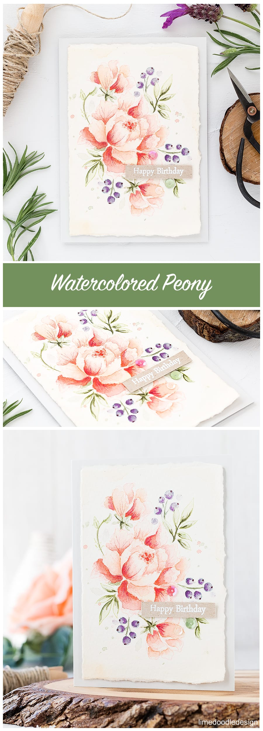 Soft watercolored peony. Find out more about this card by clicking on the following link: http://limedoodledesign.com/2016/10/soft-watercolored-peony/