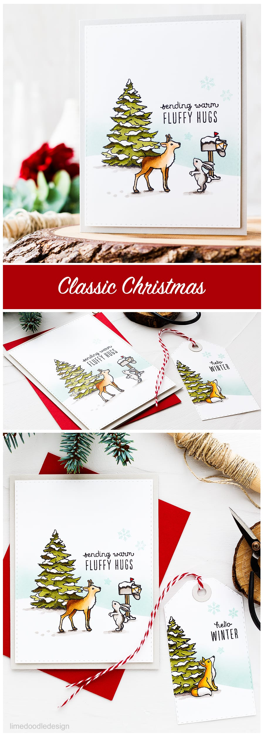 Classic Christmas scene with an add on to the October My Monthly Hero kit. Find out more about this card and tag by clicking on the following link: http://limedoodledesign.com/2016/10/classic-christmas-hero-arts-my-monthly-hero/