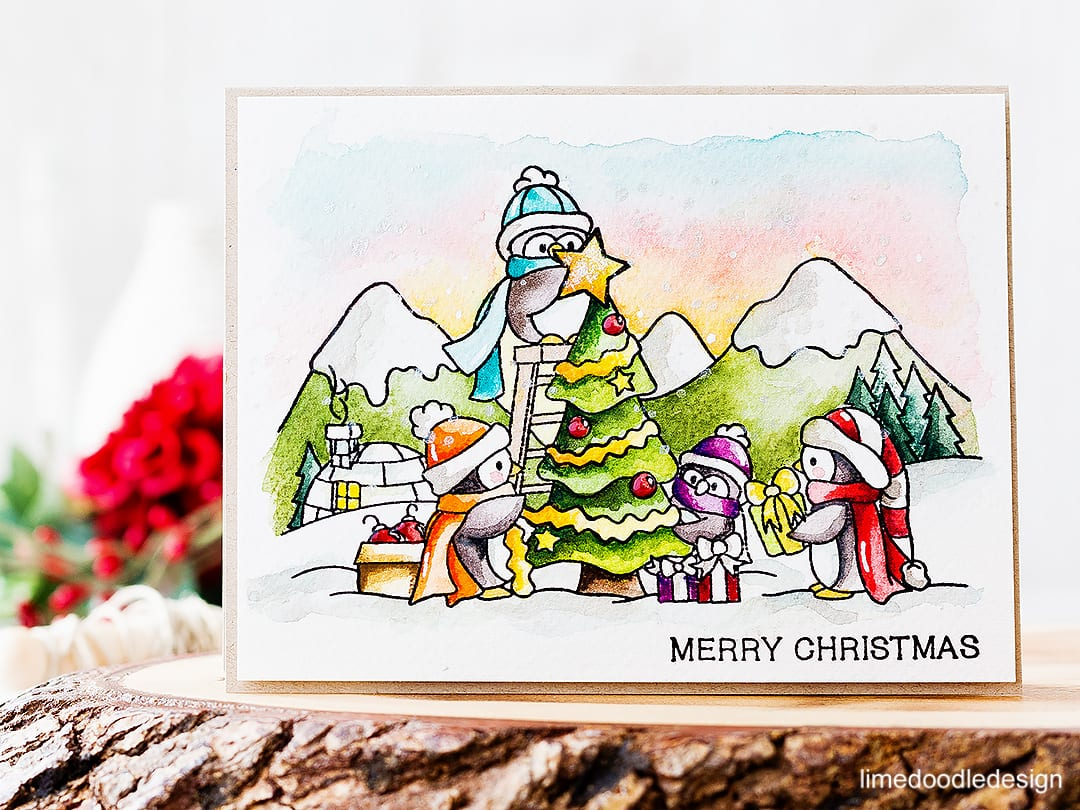 Speed video watercoloring this cute dressing the tree scene. Find out more about the Christmas card by clicking on the following link: http://limedoodledesign.com/2016/10/video-dressing-the-tree/