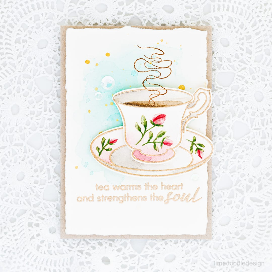 Video step by step tutorial of watercoloring this vintage teacup. Find out more about this card by clicking on the following link: http://limedoodledesign.com/2016/11/video-vintage-teacup-watercolor-giveaway/