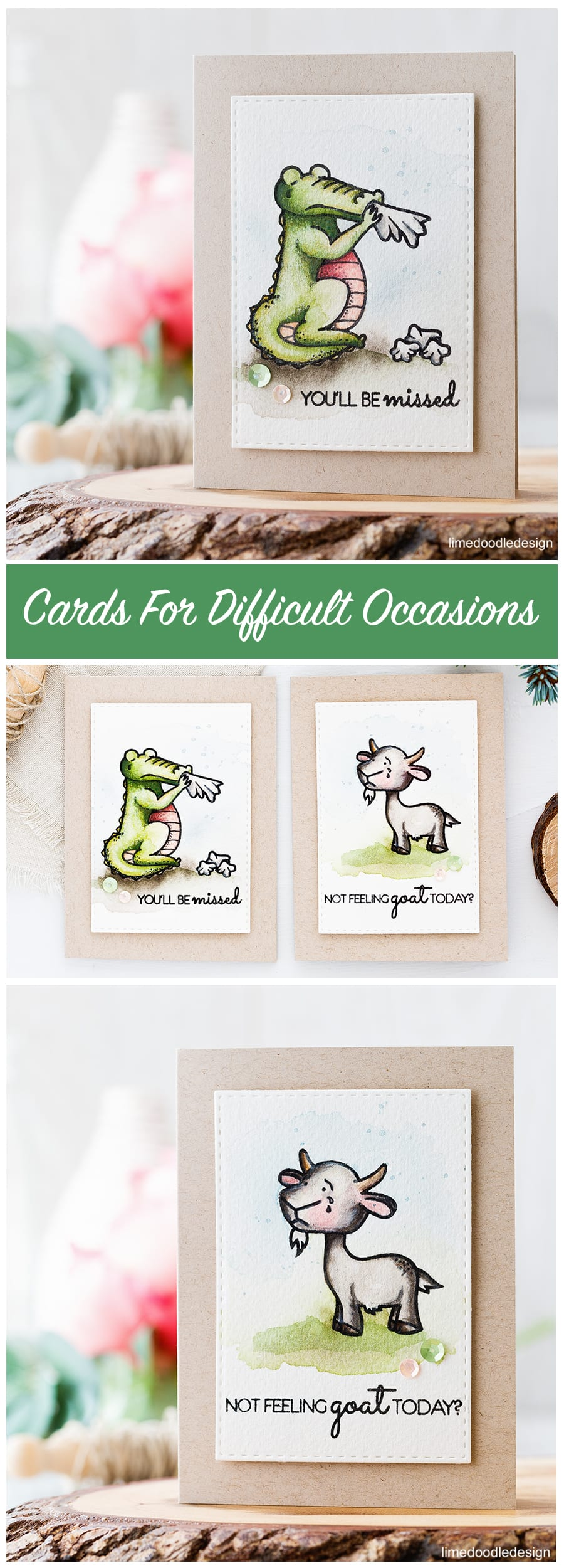 Cards for difficult occasions. Find out more about these you'll be missed and get well soon cards by clicking on the following link: http://limedoodledesign.com/2016/11/cards-for-difficult-occasions/